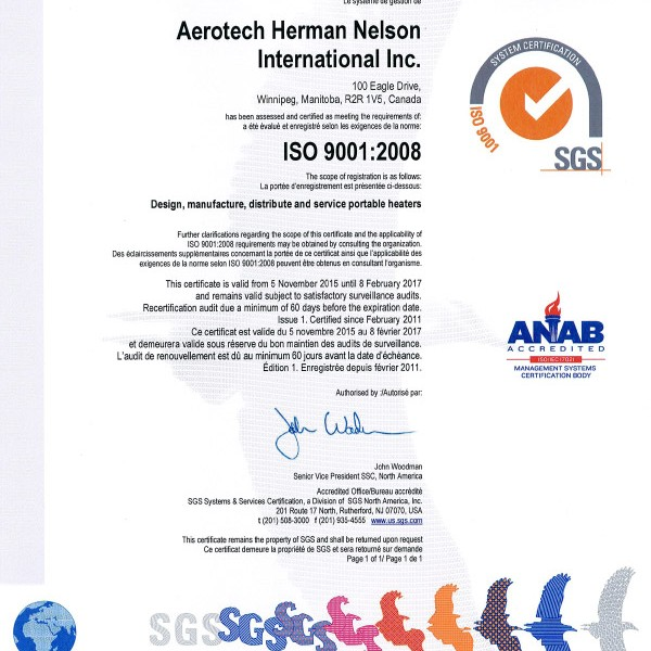 System Certified by SGS